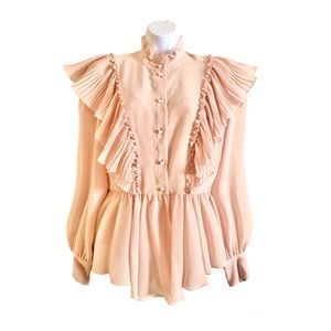 See By Chloé Ruffled Georgette Blouse Dusty Pink